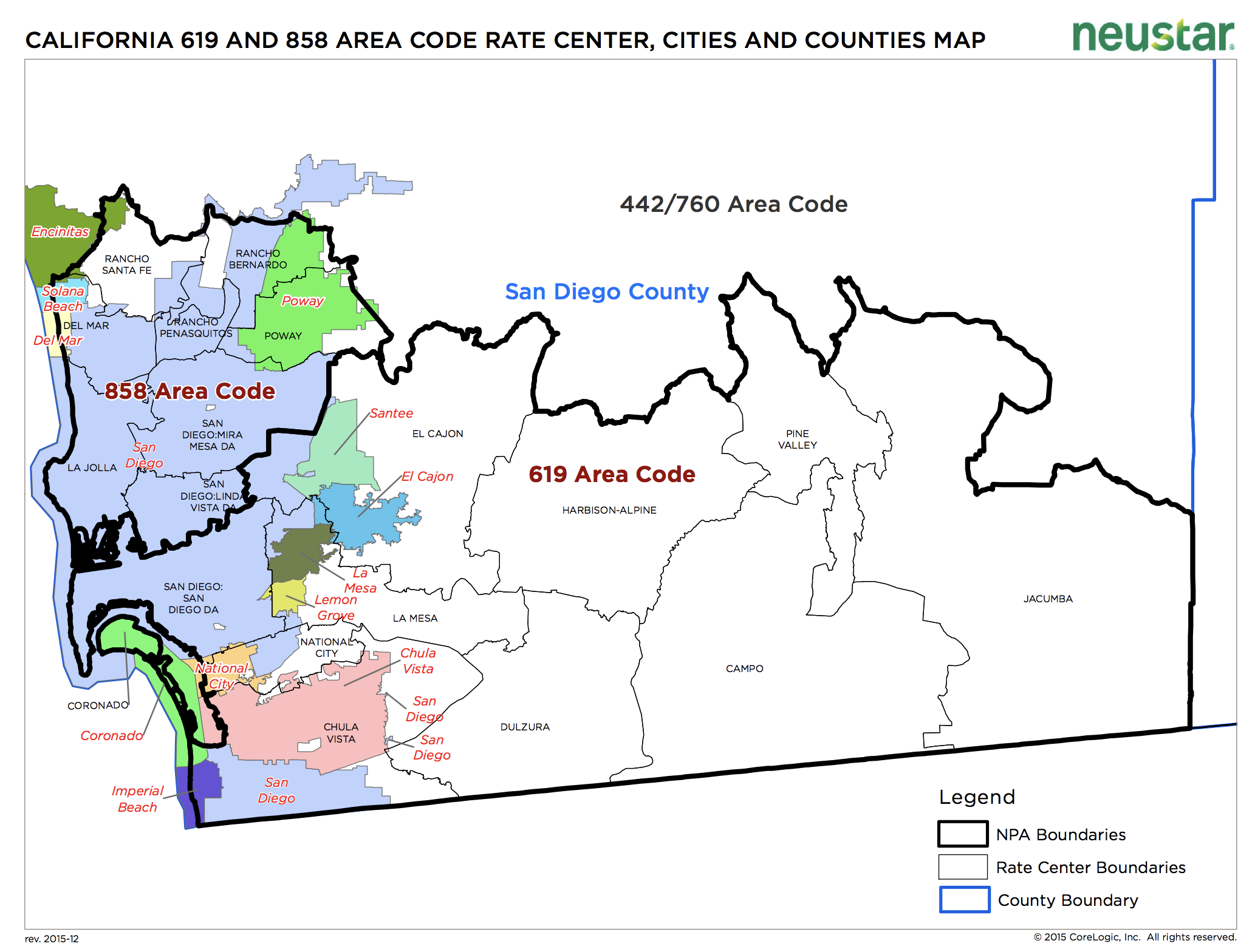A map showing the geography of San Diego divided into sections by area codes (858 and 619) and rate center boundaries
