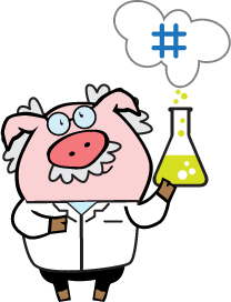NumberBarn Pig dressed as a scientist